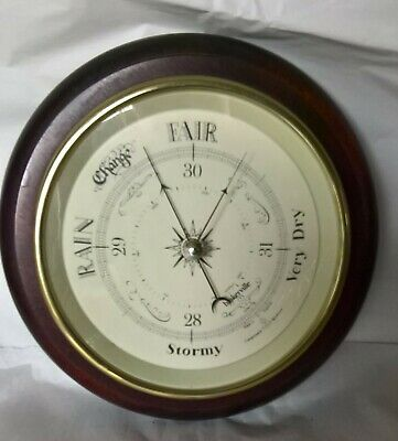 "Baskerville Wooden/Glass Wall Barometer Pre Owned VGC 10"" Diameter"
