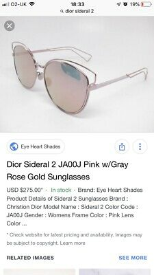 b66887303fb47 DIOR ROSE GOLD Sideral 2 Rose Gold Sunglasses With Box - EUR 37