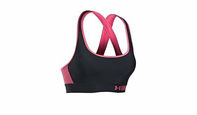 0f8942f3b20f1 NWT Under Armour Mid Graphic Crossback Women s Sports Bra Black Pink Small  Large