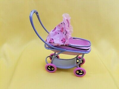 Barbie-size Baby Stroller w/ Removable Bassinet Pink NEW 341