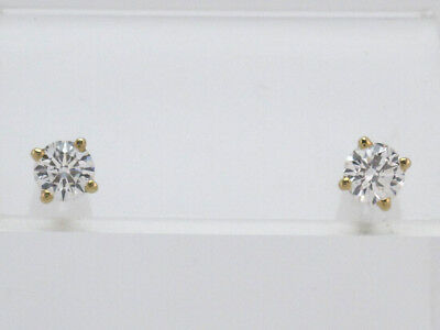 14k Yellow Gold Round Diamond Solitaire Stud Earrings 1.05ct