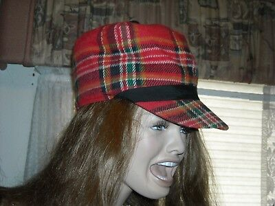 4c6318a702b vintage plaid Elmer Fudd hunting wool quilted winter cap hat size 6 3 4 red