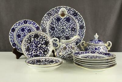 Antique 12PC Lot Ottoman China Turkish Empire Pasha Faience Blue Floral Plates