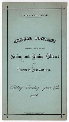 RARE 1886 KNOX COLLEGE Program DECLAMATION CONTEST Debate GALESBURG ILLINOIS