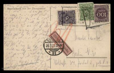Germany 1923 Munich Berlin Inflation Rohrpost Pneumatic Shorthand Cover 89399