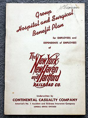 1951 NEW YORK NEW HAVEN HARTFORD RAILROAD Hospital Surgical Benefit Plan TRAIN