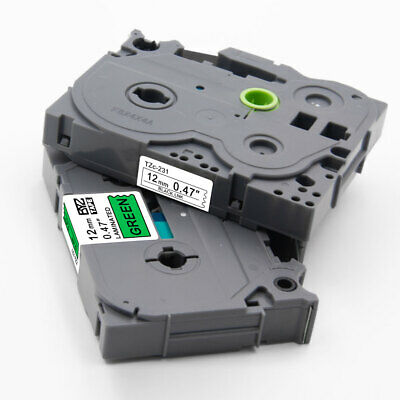 2PK TZe231 TZe731 Compatible/Brother 12mm Multicolor Label Tape P-Touch PT-D450