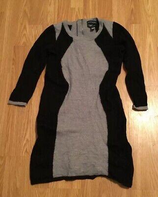 4eb11109a3f Women s CYNTHIA ROWLEY Sweater Dress Merino Wool Black Gray Tunic Career  ~Size M