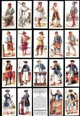 Full Set 50  History of Naval Uniforms 82YRS CARERAS OLD Cigarette Cards