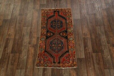 Vegetable Dye Antique Geometric 6' Runner Kazak Caucasian Russian Tribal Rug 3x6