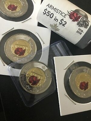 2018  Canada  2$ Two  Dollar Coin Toonie Armistice  Colored Poppy From Mint Unc
