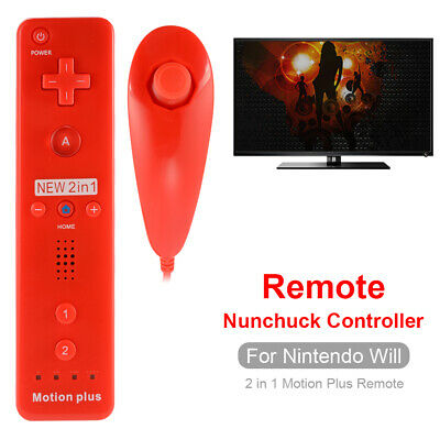 2in1 Remote and Nunchuck Controller w/ Motion Plus for Nintendo Wii Red AC1024