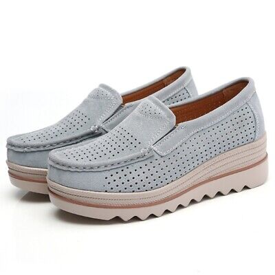 328a0443fe4 Women Suede Hollow out Wedge Platform Creepers Casual Comfy Shoes Slip On  Loafer
