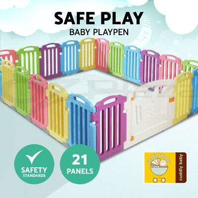 cuddly baby 21-Panel Plastic Baby Playpen Interactive Kids Toddler Safety Gate