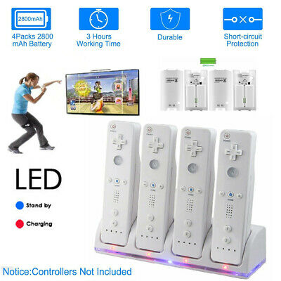 4PCS Rechargeable Batteries For Wii Remote Controller & Charger Dock Station UK