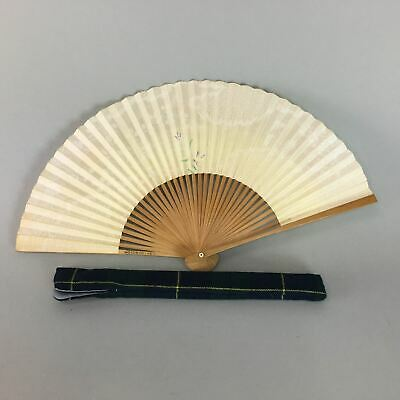 Japanese Paper Folding Fan Vtg Sensu Purple Flower Fabric Bag Bamboo 4D220