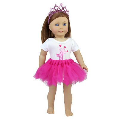 Cute Pink Tulle Dress 1st Birthday for 18 Inch Baby Girl Doll Clothes Crown Gift