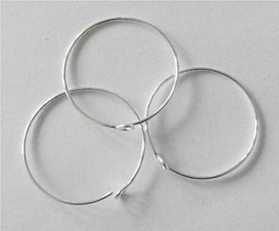 25 Silver Plated Wine Glass Charms Rings/Hoops - 25mm