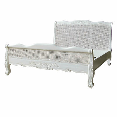 French White Rattan Low Foot Board Bed - King Size - 5ft - New - In Stock
