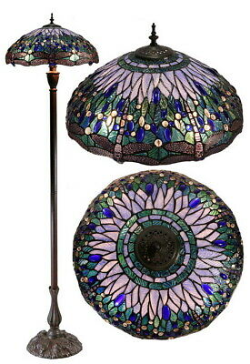 "Large 18"" Blue Dragonfly Style Stained Glass Tiffany Floor Lamp"