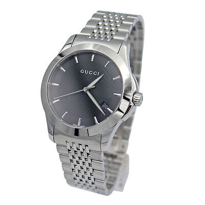 51850e1af5c Gucci YA126402 G-Timeless Black Dial Stainless Steel Bracelet Mens Watch New