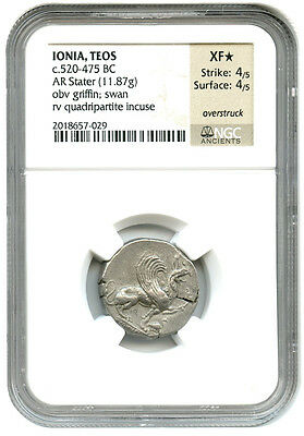 520-475 BC Teos AR Stater NGC XF * Star *(Ancient Greek)