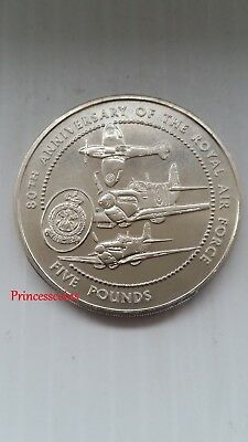 1998*bailiwick Of Guernsey Raf 80Th Anniversary £5 Five Pound Coin-Km#82