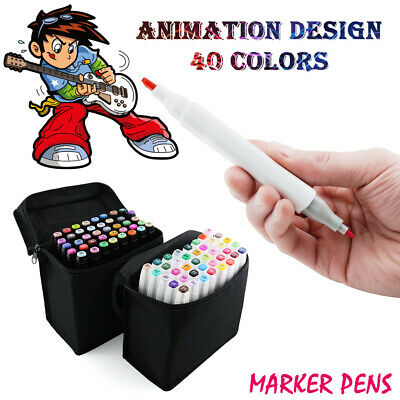 40 Color Marker Pen Set Sketch Graphic Art Broad Fine Twin Point TH258