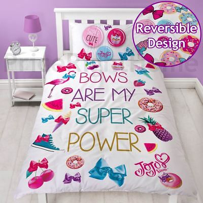 Official Jojo Siwa Super Single Duvet Cover Set Colourful Bows Reversible