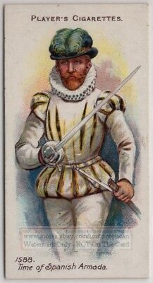 1588 A.D.English Gentleman With Rapier Thrusting Sword 100+ Y/O Trade Ad Card
