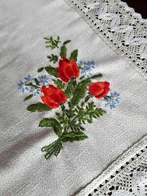 VINTAGE TABLECLOTH Tulip EMBROIDERY Square Vienna Tablecloth Lace Edge Linen Mix