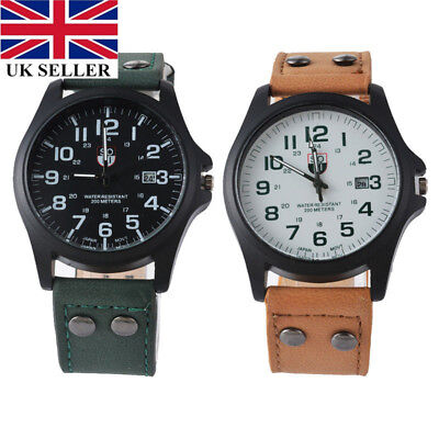 UK Men's Military Leather Date Quartz Analog Army Casual Dress Wrist Watches