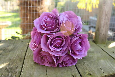 7 x SOFT PURPLE SILK ROSES 7cm TIED BUNCH / SMALL BOUQUET