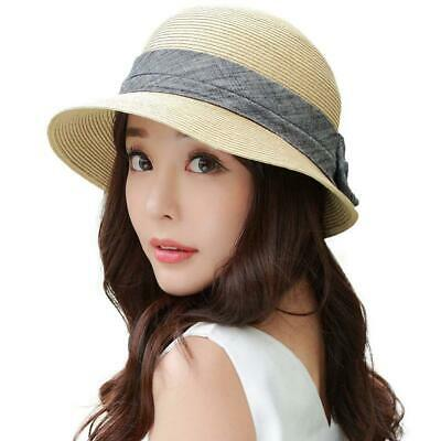 0a177af0086 Siggi Womens Foldable Summer Beach Straw Beige Hats With Wide Bow Knot UPF50