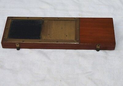 MAHOGANY & BRASS TRANSPARENCY PRINTING FRAME FOR STEREOLETTE CAMERA 107mm x45mm
