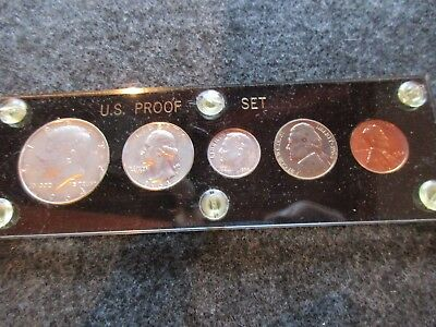 1964 5-Coin Proof Set, Encased In Capitol Holder, 3 Coins 90% Silver,  Day-03051