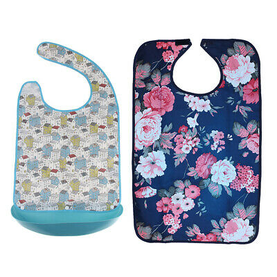 2 Elderly Adult Waterproof Washable Reusable Mealtime Clothing Protector Bib