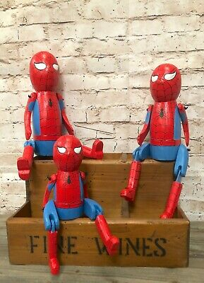 Spiderman Puppet Articulated hand made solid wood brand new Small