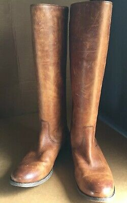 0bae69969128 FRYE MELISSA BUTTON Back Zip Distressed Cognac Boots Size 9B Extended Calf