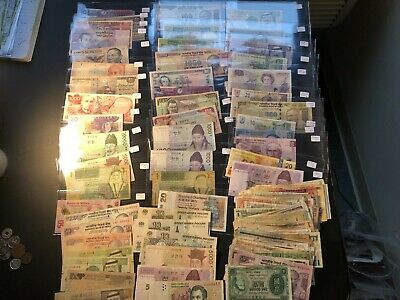 Huge Bulk Lot of 153 Assorted World Banknotes Lot#A21 Neat Group!