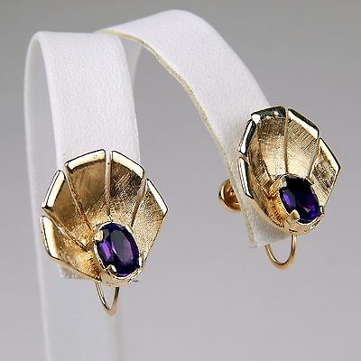 Retro Art Pair of Amethyst Shell / Flower Earrings French Back 14 kt Gold #8383