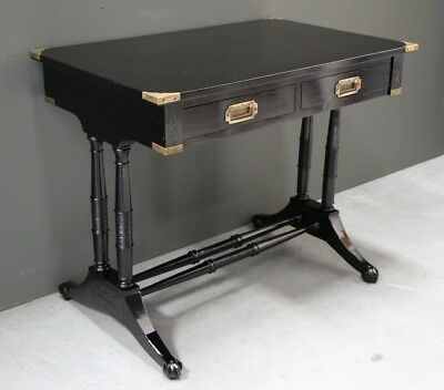 Antique Georgian Regency style campaign centre table desk 2 drawers ebony brass