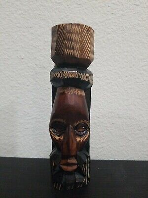 """Jamaican Hand Carved Wooden Totem Pole Man's Face Statue Figure 7"""" Tall"""