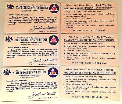3 State Council of Civil Defense Air Raid Warning Instructions Cold War Era