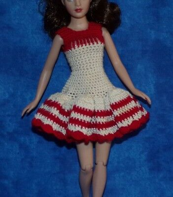 VTG Barbie Casey Francie Tiny Kitty Collier Sweet  Red White Ruffle Dress