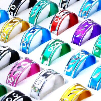50pcs Men Women Fashion Mixed Metal Cut Alloy Rings Job Lots Wholesale Jewelry