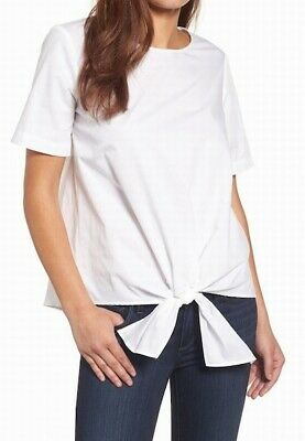 182046df21d6e7 Gibson NEW White Women s Size Small S Tie Front Scoop Neck Blouse  59-  181