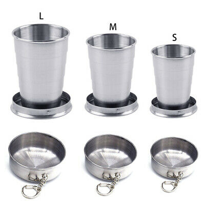 Portable Stainless Steel Travel Camping Folding Collapsible Cup Metal Telescopic