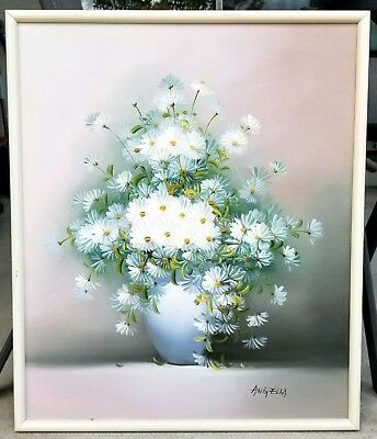 """Vintage Oil on Canvas Painting Still Life Daisies Floral Flowers 20x24"""" Signed"""