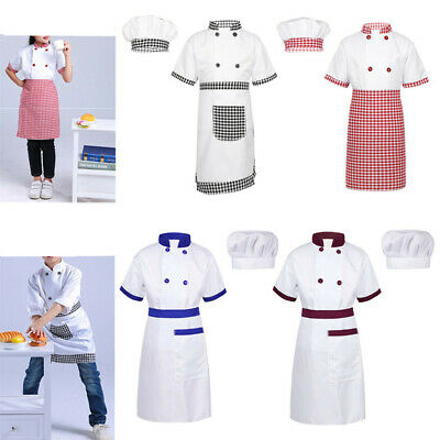 Kid Boy Girl Chef Costume Cosplay Party Fancy Dress Up Set Cook Job Uniform Kit